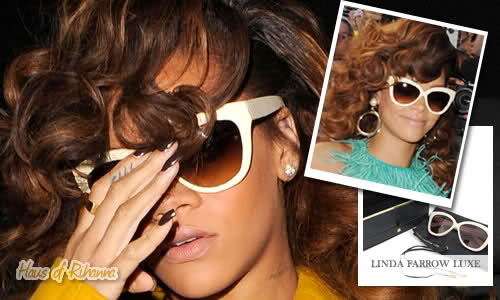 Rihanna in Linda Farrow Luxe cream snakeskin sunglasses