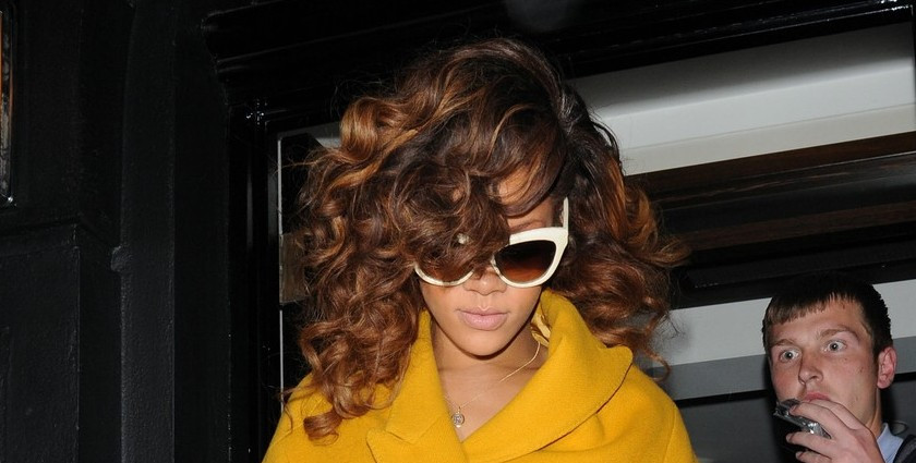 Rihanna wearing Linda Farrow sunglasses in London