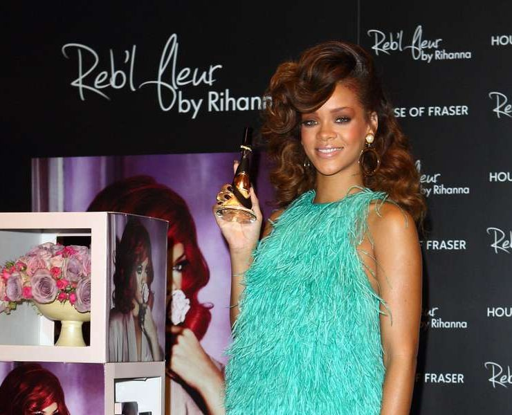 Rihanna in Antonio Berardi and Christian Louboutin at the Reb'l Fleur launch