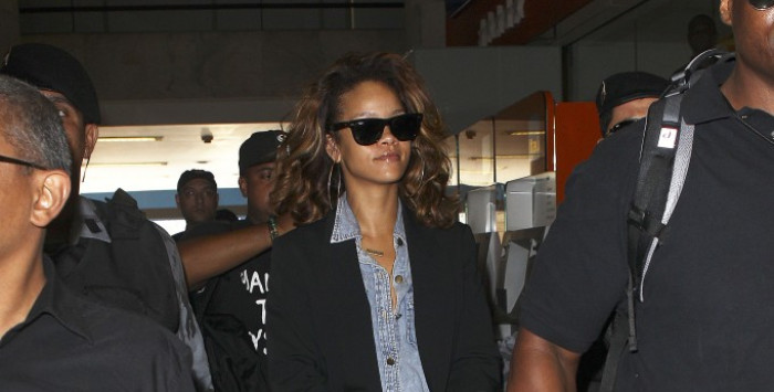 Rihanna at the airport in Brazil