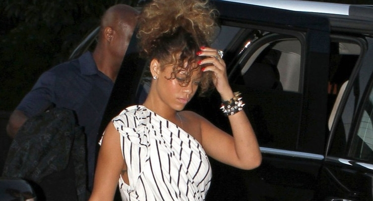 Rihanna in striped Camilla and Marc dress
