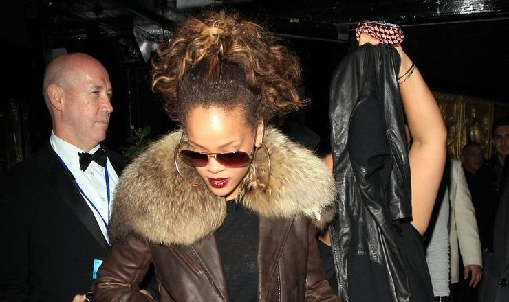Rihanna in London wearing Balmain jacket