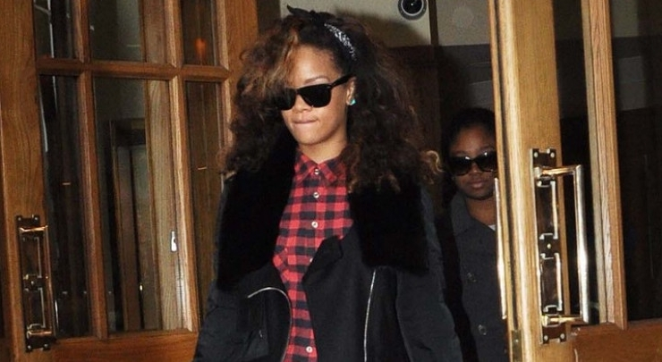 Rihanna wearing Alexander Wang jacket in Dublin