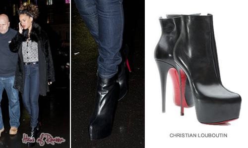 Rihanna in Christian Louboutin platform ankle boots