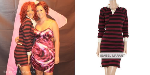 Rihanna in Isabel Marant Grady striped dress