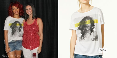 Rihanna in graphic t-shirt from Zara
