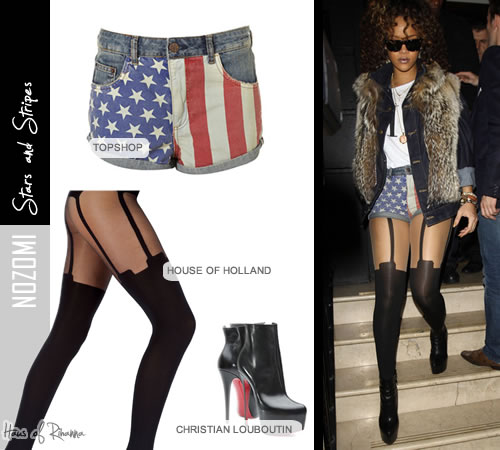Rihanna at Nozomi Restaurant in Pretty Polly tights, Christian Louboutin boots and Topshop American flag shorts