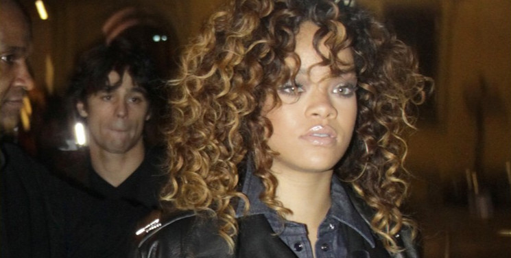 Rihanna in Milan wearing Armani