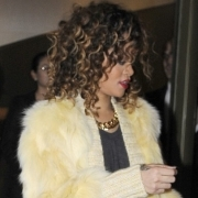 Rihanna in yellow Missoni coat