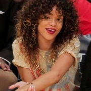 Rihanna at a Lakers basketball game
