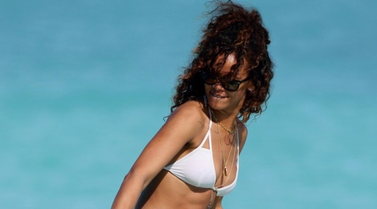Rihanna in white Vitamin A bikini
