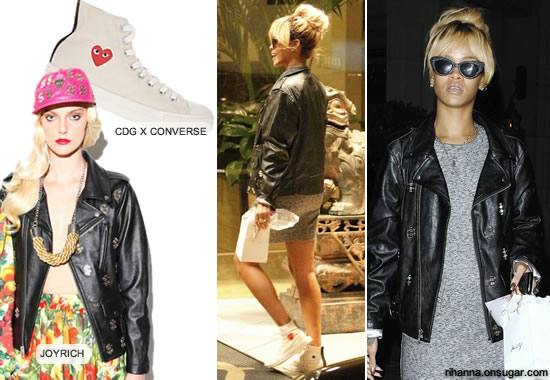 Rihanna in Joyrich motorcycle jacket with dollar signs