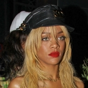 Rihanna in Chanel leather hat