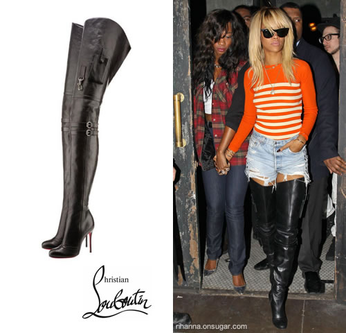 rihanna christian louboutin thigh high boots