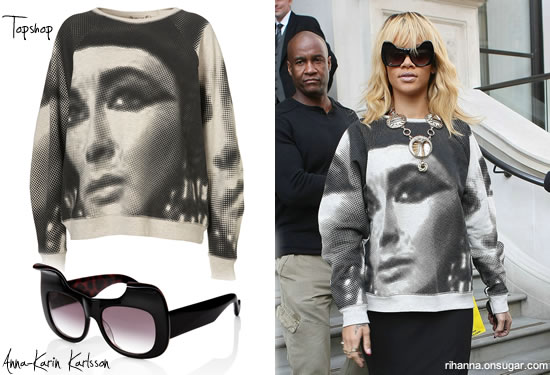 Rihanna in Kitten Noir Sunglasses and Topshop Cleopatra sweater