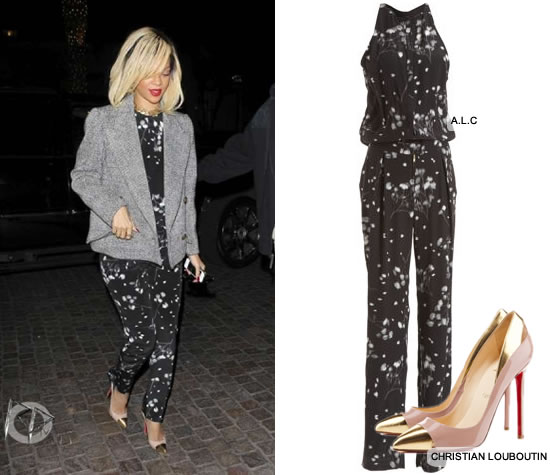 Rihanna in ALC Print Jumpsuit and Christian Louboutin heels