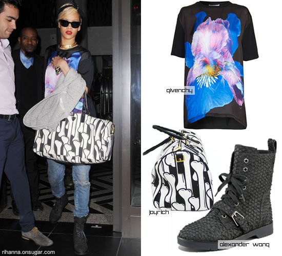 Rihanna in Givenchy Iris tee and Alexander Wang Daria boots