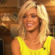 Rihanna in yellow Opening Ceremony knit dress on Access Hollywood
