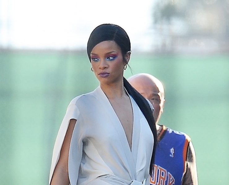 Rihanna in Adam Selman custom jumpsuit
