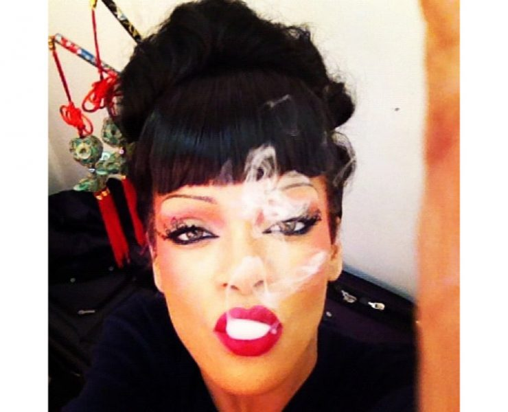 Rihanna in Paperself lashes