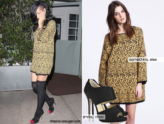 Rihanna in yellow print dress by Something Else and black Jimmy Choo sandals