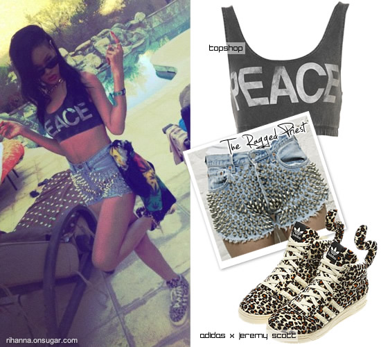 Rihanna at Coachella In Jeremy Scott Adidas and Topshop bra