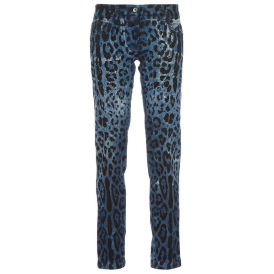 Dolce and Gabbana leopard print jeans as seen on Rihanna