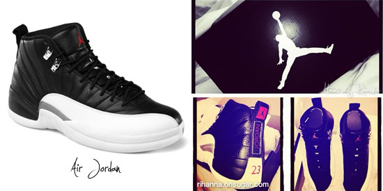 Rihanna and her Air Jordan Retro 12 Playoffs sneakers