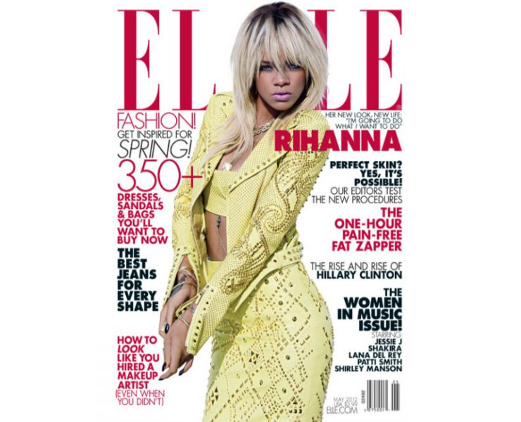 Rihanna on the cover of Elle US May 2012