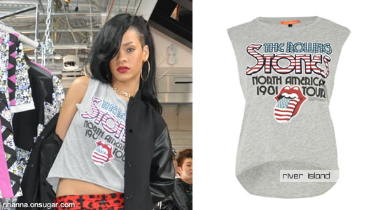 Rihanna in Rolling Stone's t-shirt from River Island