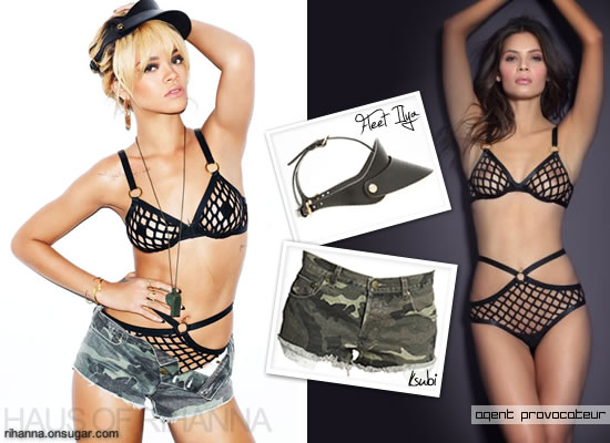 Rihanna in Fleet Ilya visor, ksubi camo shorts and Agent Provocateur fishnet bra and brief in Esquire UK