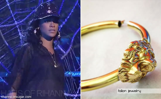 Rihanna on Saturday Night Live wearing lion hoop earrings by Dana Lorenz of Fallon Jewelry