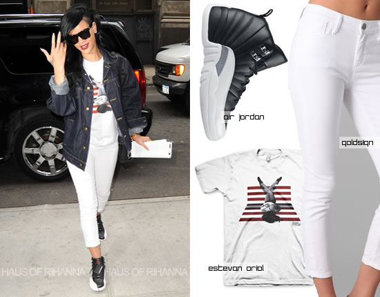 Rihanna in cropped Goldsign jeans, Estevan Oriol t-shirt and Air Jordan Retro sneakers