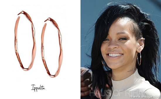 Rihanna wore ippolita s 4 squiggle hoop earrings in rose gold