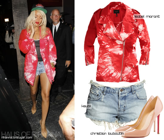 Rihanna in red tie dye Isabel Marant jacket, ksubi cut off shorts and Trapstar hat