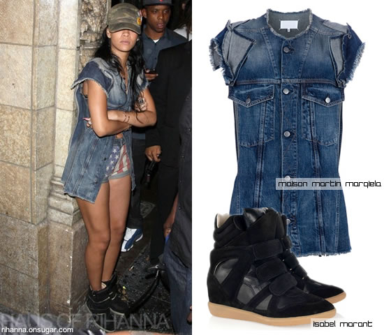 Rihanna in Maison Martin Margiela denim jacket, Topshop flag shorts, Isabel Marant Bekket sneakers
