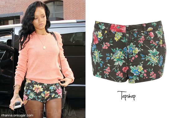 Rihanna in floral shorts from Topshop