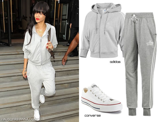 Rihanna in Adidas cropped hoodie, Adidas track pant, and white Converse oxfords