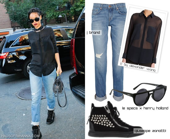 Rihanna in T by Alexander Wang sheer shirt, Henry Holland for Le Specs muffin top sunglasses, Giuseppe Zanotti sneakers and J Brand distressed jeans