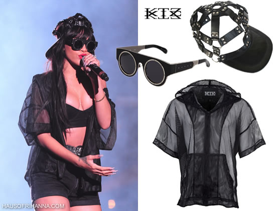 Rihanna in Kokon To Zai mesh hoodie and harness cap, KTZ by Linda Farrow sunglasses