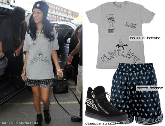 ihanna in House of Ladosha 2pac t-shirt, Melody Ehsani Queen of the Jungle necklace, Giuseppe Zanotti studded sneakers, Pierre Balmain shorts, Silver Spoon Attire beanie