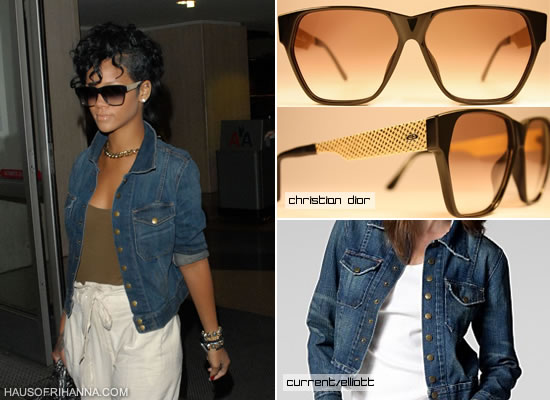 Rihanna in vintage Christian Dior Monsieur sunglasses and Current/Elliott The Snap Jacket