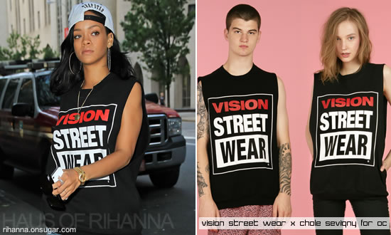 Rihanna in Trapstar snapback cap and sleeveless sweatshirt from Vision Street Wear by Chloe Sevigny for Opening Ceremony