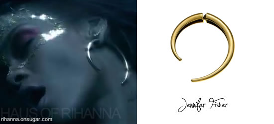 Rihanna in Jennifer Fisher tribal brass earrings in Where Have You Been video