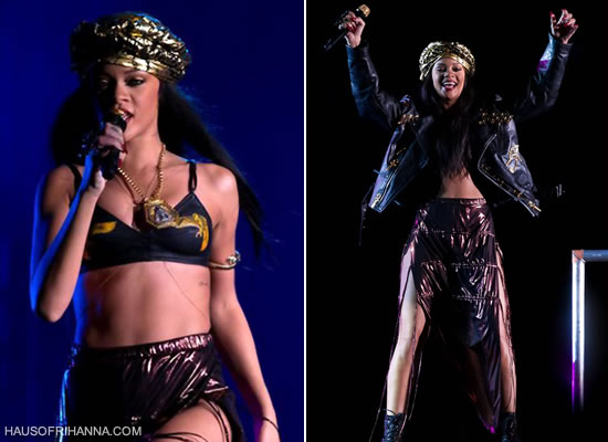 Rihanna in Adam Selman turban, bra and skirt at Peace & Love Festival in Sweden
