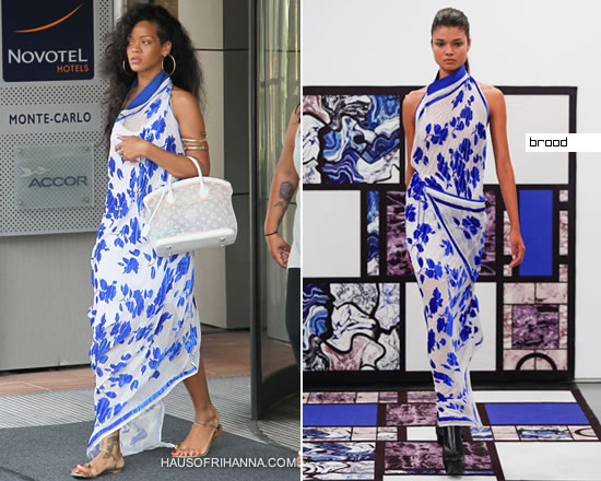 Rihanna in blue and white Brood maxi dress
