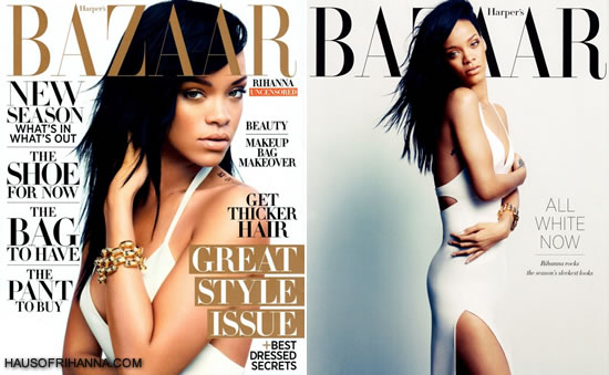 Rihanna on the cover of Harper's Bazaar, August 2012 wearing a white Calvin Klein dress