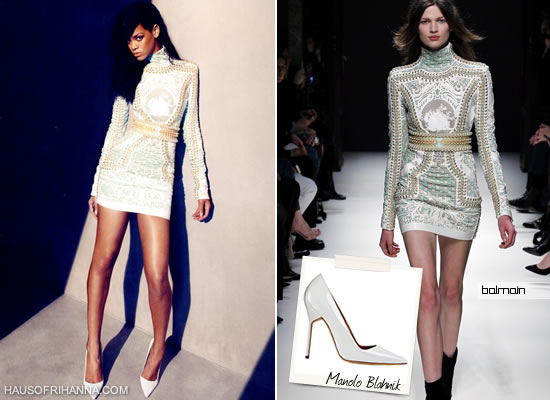 Rihanna in Harper's Bazaar, August 2012 wearing a Balmain Fall 2012 dress and white Manolo Blahnik pumps