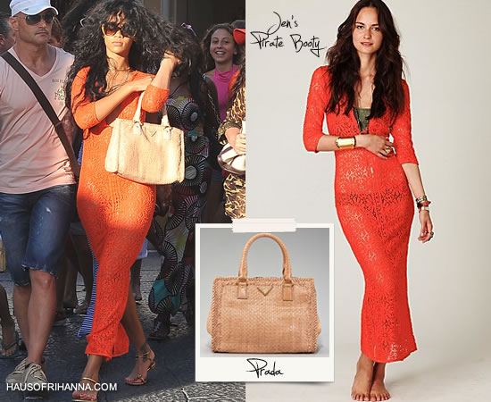 Rihanna in Jen's Pirate Booty Lace Birkin Dress and carrying Prada's Madras tote