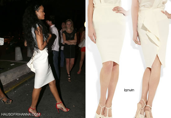 Rihanna in white Lanvin washed-canvas pencil skirt